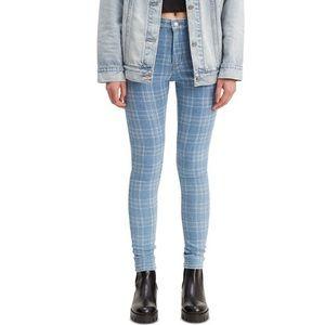 Levi's 721 Light Wash Plaid High Rise Skinny Jeans